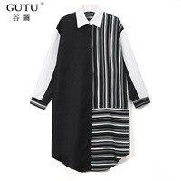 GUTU 2018 Spring Summer New Pattern Blouse Stitching Irregular Hem Turn Down Collar Full Sleeve