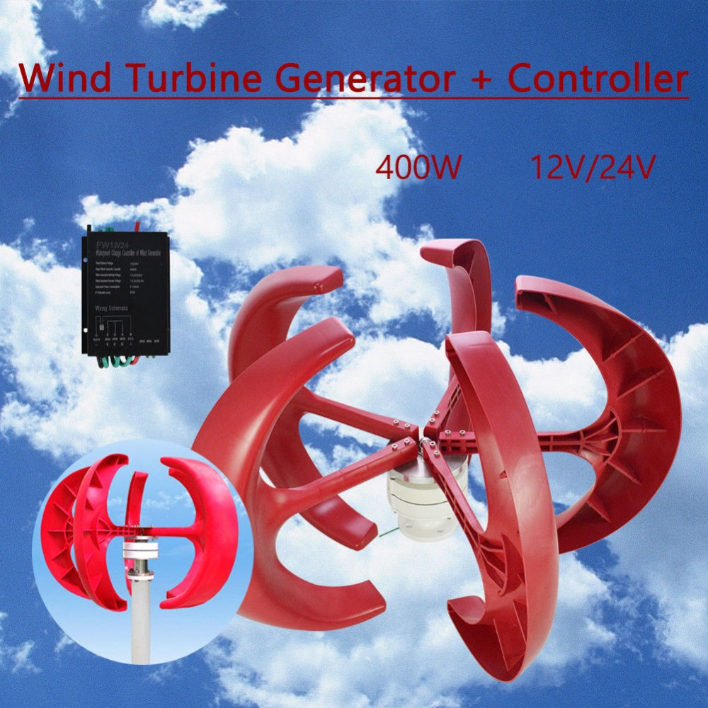 Wind Turbine 24V 400W lanterns vertical axis + controller Wind Energy Generator free shipping 600w wind grid tie inverter with lcd data for 12v 24v ac wind turbine 90 260vac no need controller and battery