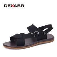 DEKABR Men Genuine Leather Sandals Summer Wading Beach Shoes Handmade Slippers Leather Casual Shoes Flip Flops