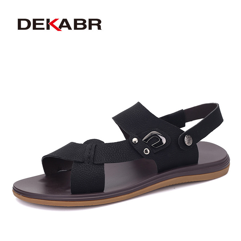 DEKABR Men Genuine Leather Sandals Summer Wading Beach Shoes Handmade Slippers Leather Casual Shoes Flip Flops Plus Size 36~47