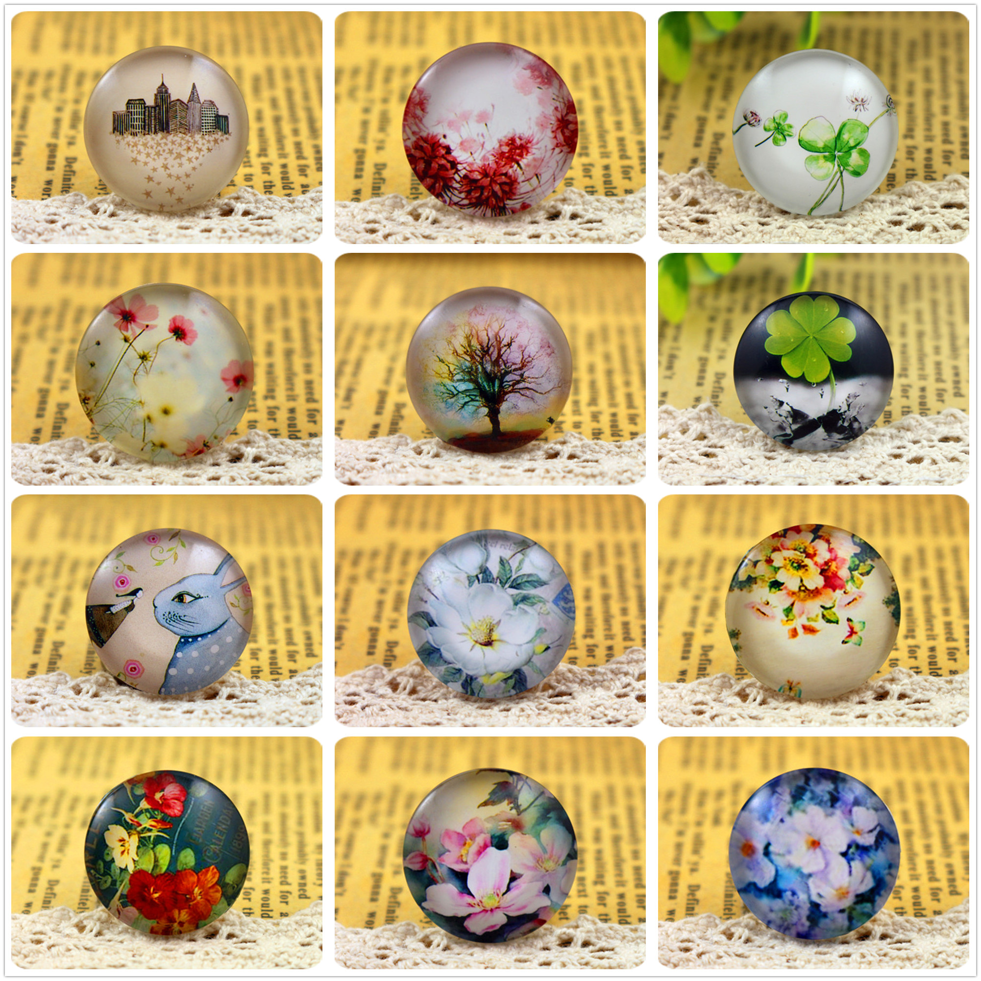 New Fashion 5pcs/Lot 25mm Handmade Photo Glass Cabochons (Tree and flower and animal series) new fashion 5pcs lot 25mm handmade photo glass cabochons beautiful butterfly series