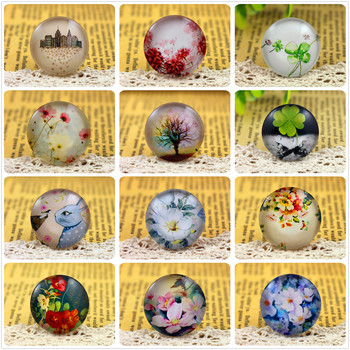 New Fashion  5pcs/Lot 25mm  Handmade Photo Glass Cabochons (Tree and flower and animal series) new fashion 5pcs lot 25mm handmade photo glass cabochons cat yin and yang tai chi series