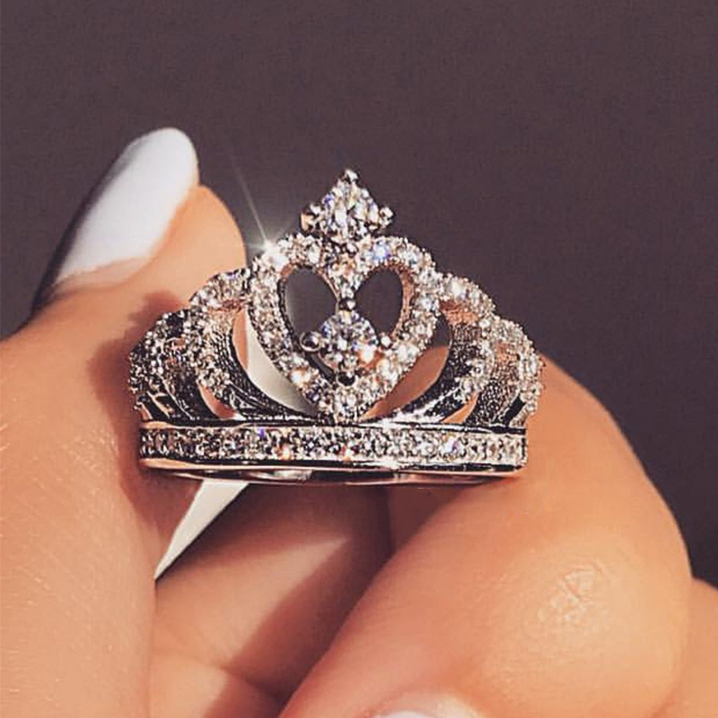 Sent Certificate Silver Crown Ring Women's Wedding Party 5A Cubic Zircon Crystal Ring Silver Jewelry JR017