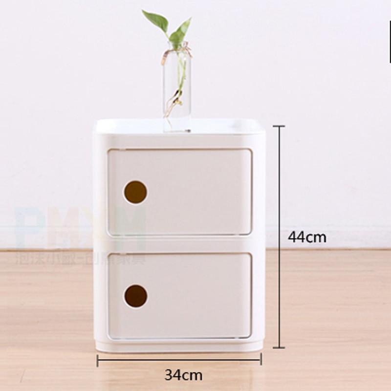 2 Tier ABS Storage Cabinet Modern Living Room Nightstand Bedside Cabinet