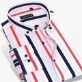 2017 Chegada Nova Multi Vertical Striped Camisas de Vestido dos homens de Manga Longa 97% Algodão Slim-fit Button-down britânico Camisas Casuais