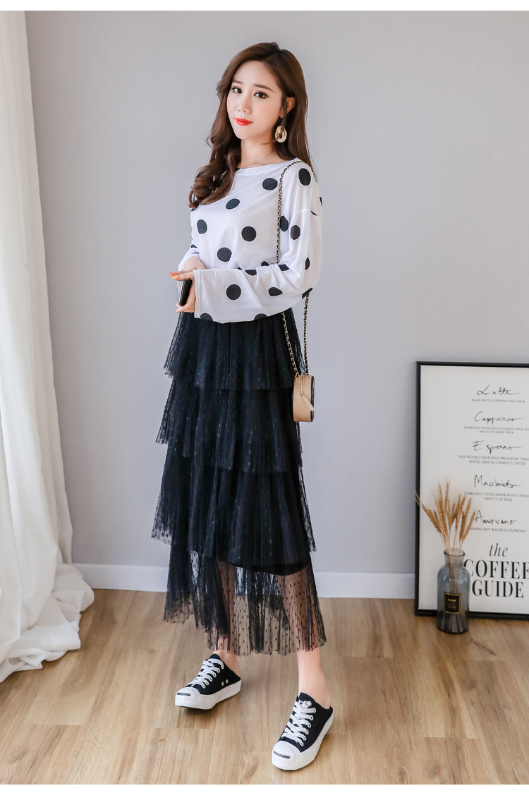 Fitaylor Spring New Sweet Cake Layered Long Mesh Skirts Princess High Waist Ruffled Vintage Tiered Tulle Pleated ins Skirts 7