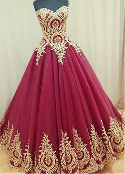 Vestido de Festa Ball Gown Prom Dress with Gold Lace Appliques Long Formal Dress Women Gala Dress