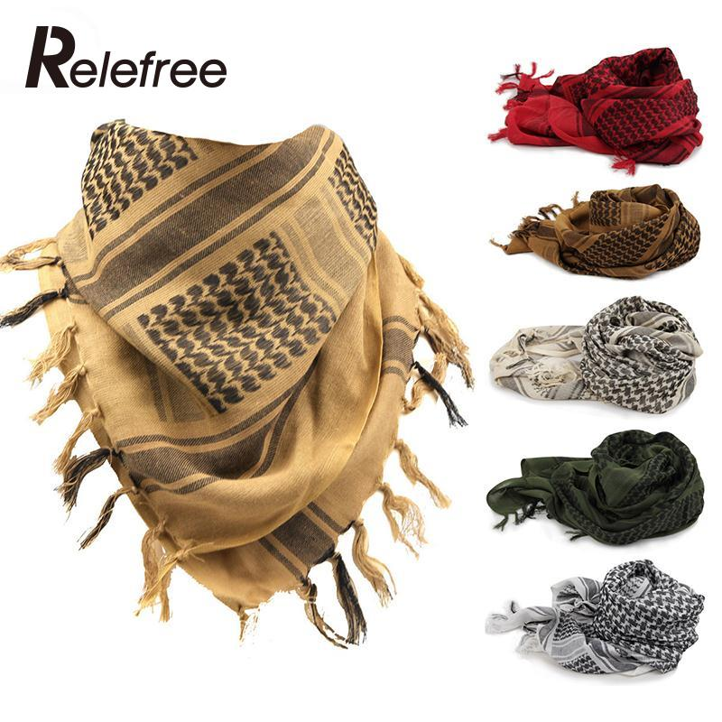 Relefree Outdoor Hiking Scarves Military Arab Tactical Desert Scarf Army Shemagh KeffIyeh Shawl Scarve Neck Wrap