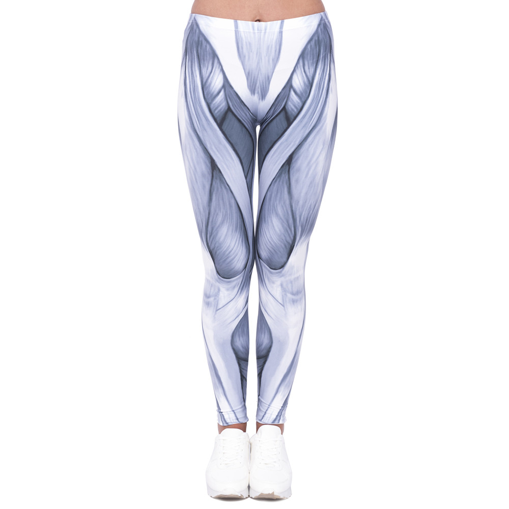 New Arrival Women Legging Gray Lines Printing Leggings Fashion High Waist Woman Slim Pants