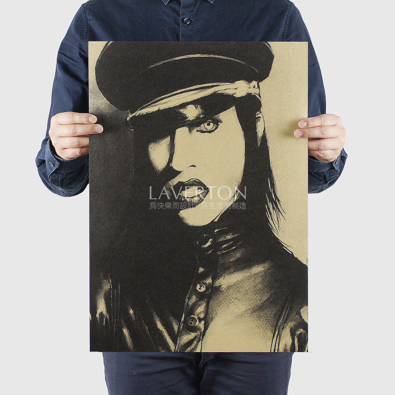 Marilyn Manson B/ ROCK BAND MUSIC Musician / Kraft Paper / Wall Stickers / Bar Poster/ Retro Poste R/decorative Painting 51x35.5