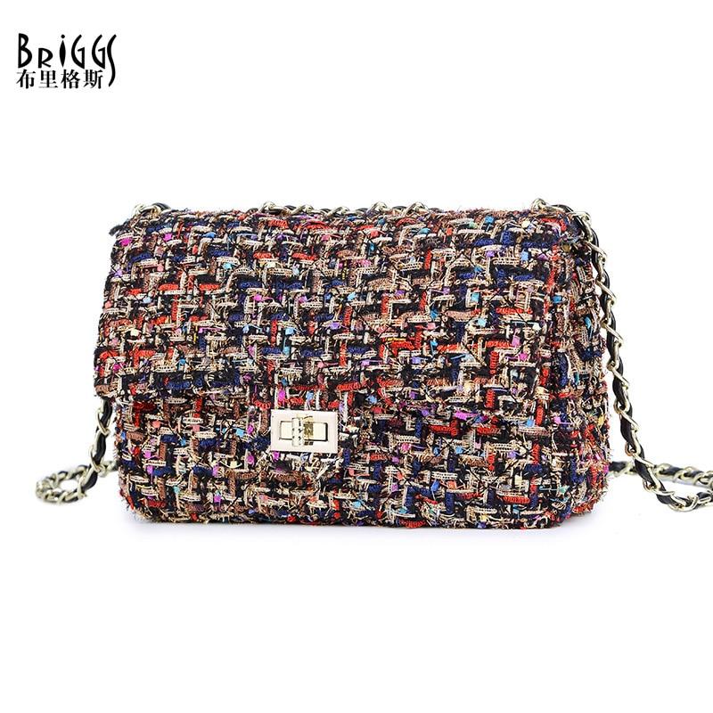 BRIGGS Fashion Women Bag Mini Flap Bag Quality Wool Women's Handbag Chain Small Handbags Messenger Shoulder Bag New Arrival