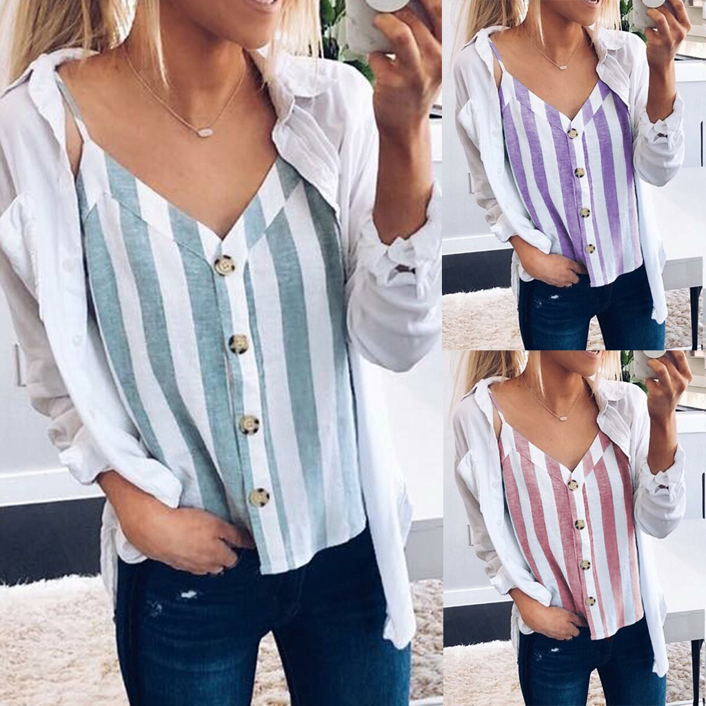 Women's Button Down V Neck Striped Blue Purple Red Tanks Tops Loose Casual Sleeveless Blouses Female Camisa Summer Girl's Camis
