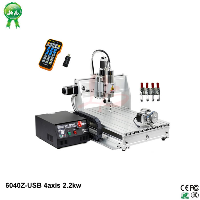 купить New mini 6040 cnc router 4 axis 2200w engraving machine usb port water cooling carving machine with mach3 remote control дешево