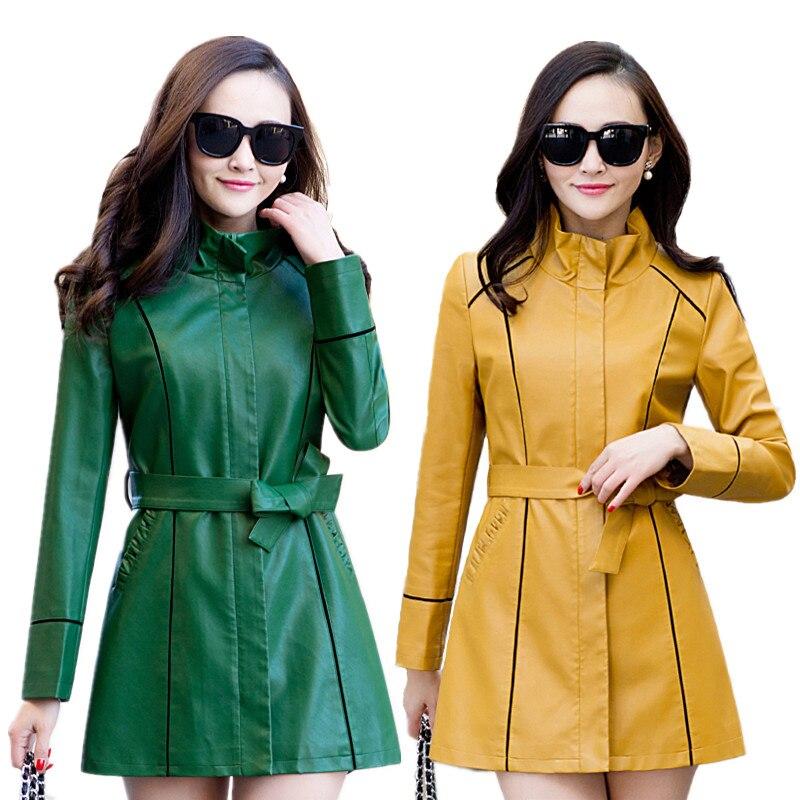 2018 Autumn Plus Size Faux   Leather   Women Jacket Winter Long Coat Female Soft Faux   Leather   Jacket Women's Windbreaker L-5XL
