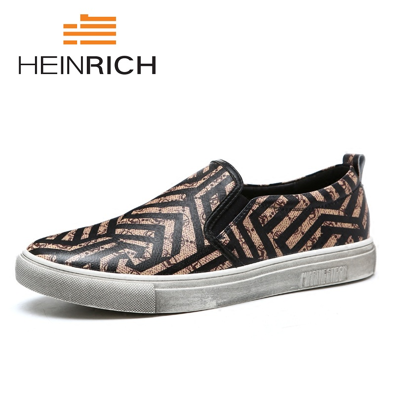 HEINRICH New Men Casual Shoes 2018 Fashion Men Shoes Genuine Leather Print Man Slip On Men's Flats Shoes Calzado-Hombre 2015 new fashion british martin causal genuine leather men shoes brand camel men shoes real leather men flats casual shoes man