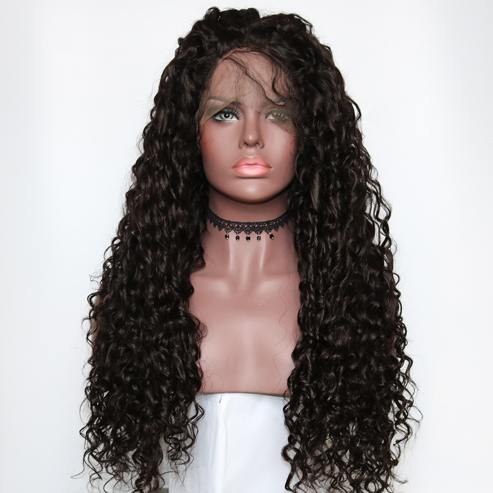 dark brown curly lace wig