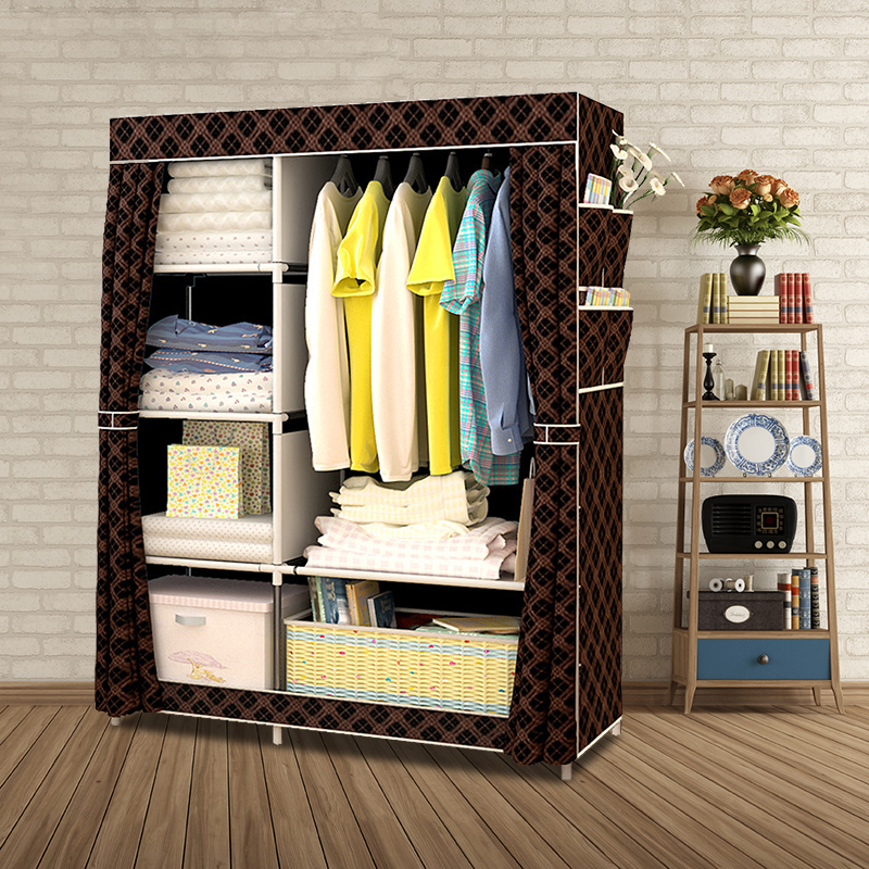 When The Quarter Wardrobe DIY Non-woven Fold Portable Storage Cabinet Multifunction Dustproof Moistureproof Closet