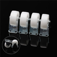 4PCS Set White Replacement Swivel Furniture Casters Office Chair Nylon Wheels Rigid Caster For Platform Trolley