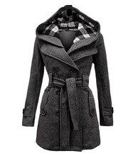 2018 новые дизайнерские Для женщин шерсть длинный рукав негабаритных Пальто и пуховики Куртки двубортная верхняя одежда партии плюс Размеры с капюшоном