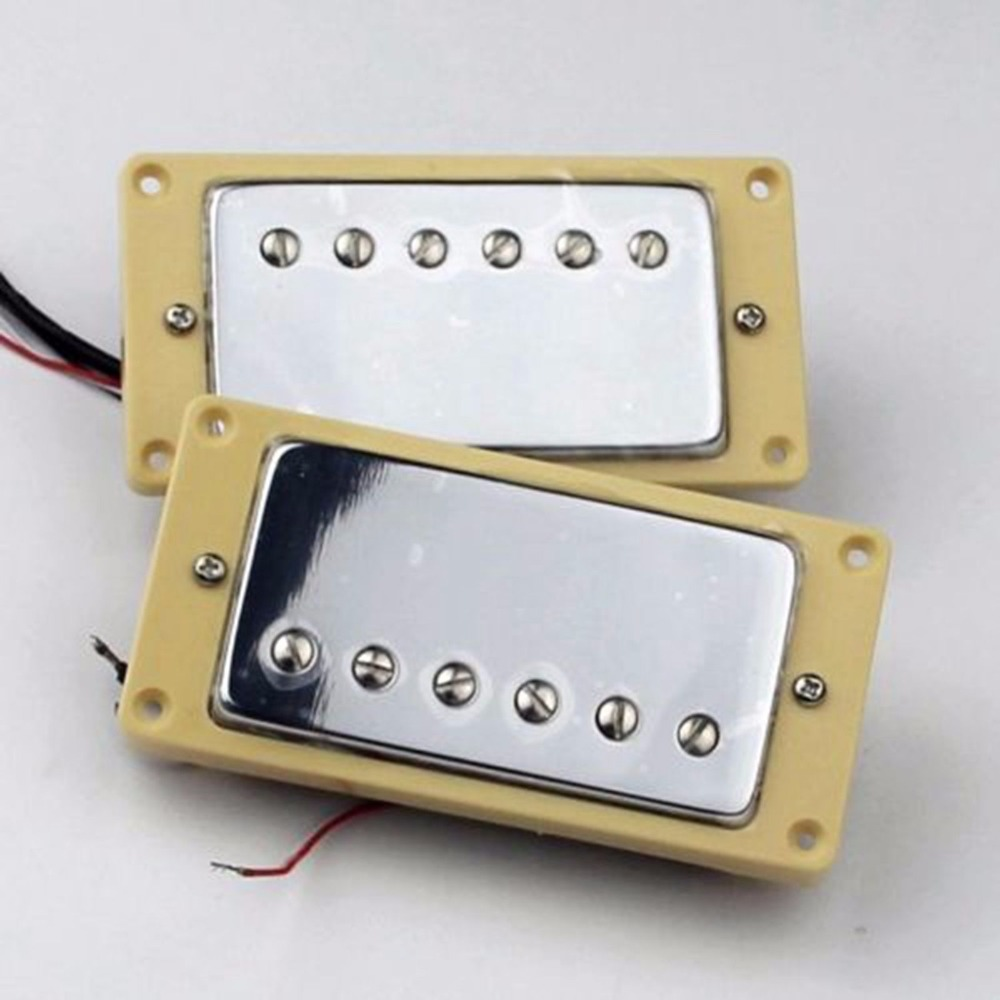 HUMBUCKER PICKUP SET CHROME FOUR CONDUCTOR WIRES ALNICO V Pickups belcat bass pickup 5 string humbucker double coil pickup guitar parts accessories black