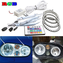 4pcs Super bright 7 Color RGB LED Angel Eyes Kit with IR remote control car styling for VW Volkswagen golf 4 MK4 GT 1998-2004