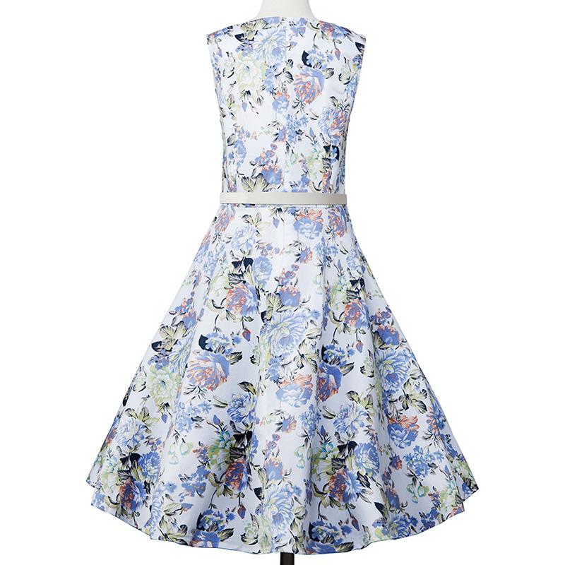 Kostlish Elegant Print Women Summer Dress Sleeveless Audrey Hepburn 50s 60s Vintage Dress With Belt Casual A-Line Ladies Dresses (11)