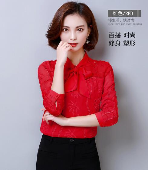 84046f20851189 Tops Mode Femmes Arc Blouses S À black La Nouvelle De 3xl Femme Shirt red  Manches ...