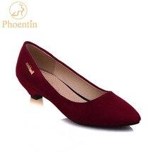 Купить с кэшбэком Wine red dress shoes low heels 2018 fashion pumps flock slip-on kitten heels shoes women pointed female footwear Phoentin PH095