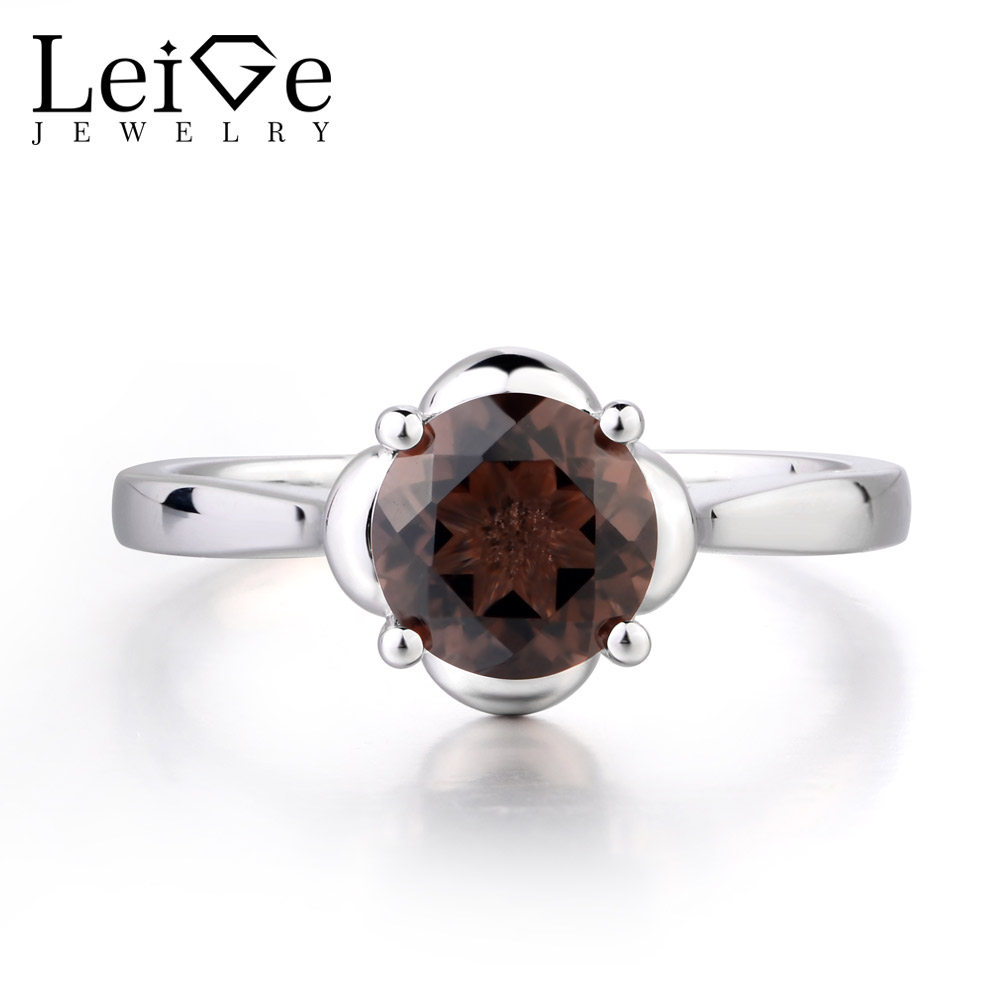 Leige Jewelry Solitaire Natural Brown Color Smoky Quartz Rings Round Shape Prong Setting Vintage Ring 925 Sterling SilverLeige Jewelry Solitaire Natural Brown Color Smoky Quartz Rings Round Shape Prong Setting Vintage Ring 925 Sterling Silver