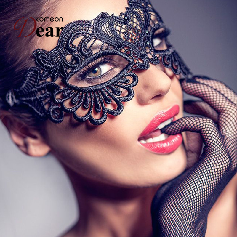 Comeondear Sex Product For Women Black Lace Eye Mask Hollow Out Halloween Cosplay Sex Mask Blindfold Blinder Bdsm 1PC CA80608(China)