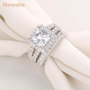 Image 2 - Newshe 2 Pcs Wedding Ring Set Classic Jewelry 2.8 Ct Princess Cut AAA CZ 925 Sterling Silver Engagement Rings For Women JR4887