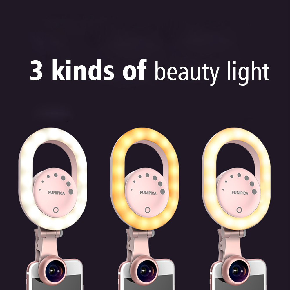 Ulanzi Lieqi LED Selfie Ring Light USB Rechargeable with Wide Angle Lens,Photography Brightness Enhancing Video Flash for iPhone