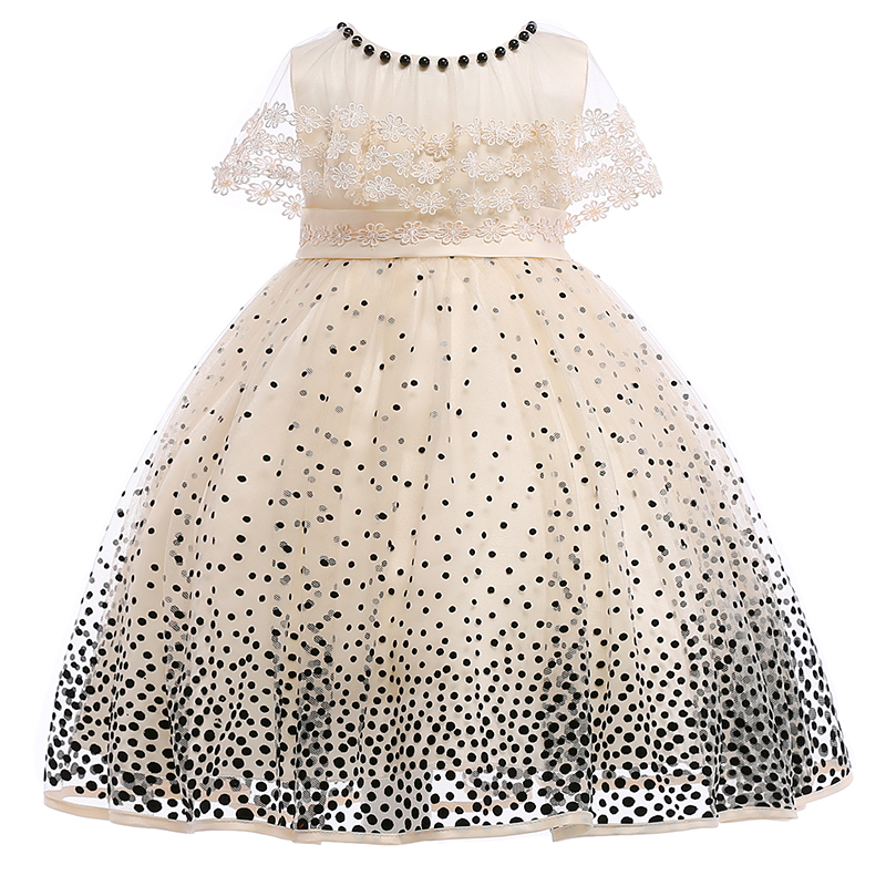 2019 Beaded Mesh Dot Printing   Flowers     Girls     Dress   Kids Elegant Lace Princess Pageant Ball Gown   Dress   Vestidos De Comunion