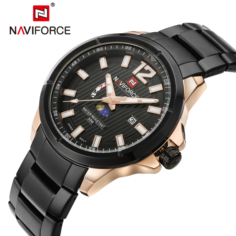 NAVIFORCE Original Luxury Brand Stainless Steel Military Sports Watches Men Quartz Waterproof Clock Wristwatch relogio masculino