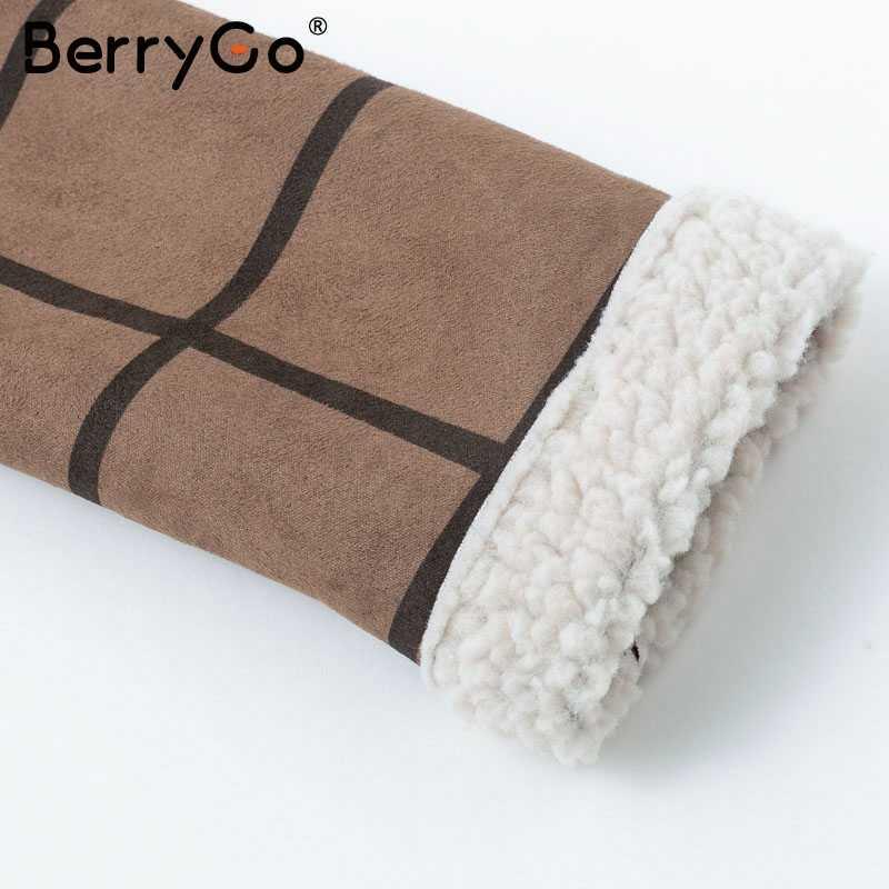 BerryGo/Модная клетчатая куртка из меха ягненка, пальто, Женское пальто на молнии с отложным воротником, осень 2018, женский жакет в стиле кэжуал, зимняя куртка