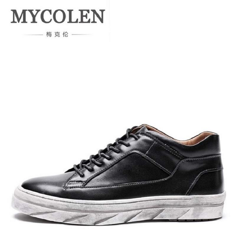 MYCOLEN Men Ankle Boots Fashion Cowhide Footwear Genuine Leather Mens Shoes Fashion Brand Lace Up Casual New Short Boots