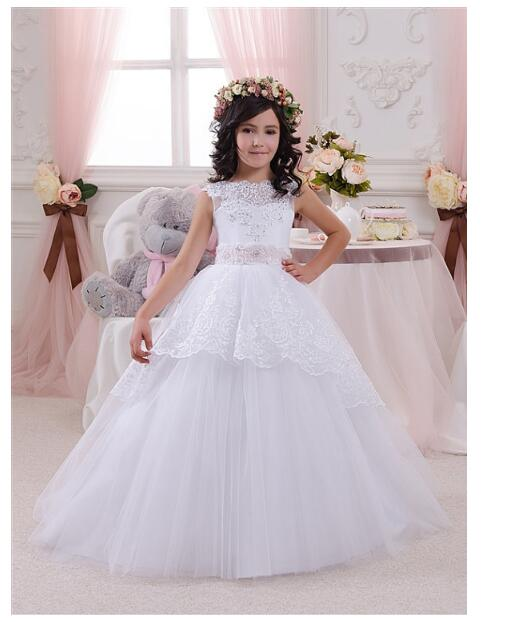 Girls Wedding Formal Dresses 2018 Sleeveless Gauze Ball Gown Flowers Girls Princess Dress Kids Birthday Prom Party Dresses White cute girls fashion dress summer kid girls sleeveless belt flowers tutu princess party dresses ball gown kids dresses