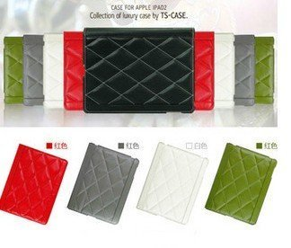 Ultra Thin case cover for ipad2 Luxury Diamond pattern PU leather, freeshipping!