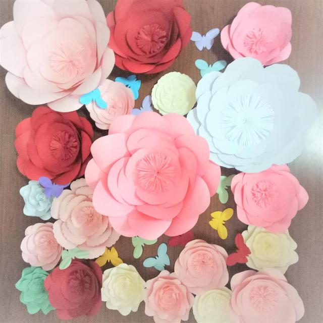 Us 126 75 25 Off 2018 Diy Full Kits Giant Paper Flowers Backdrop 20pcs Butterflies 14pcs Wedding Event Baby Nursery Decor Free Video Tutorial In