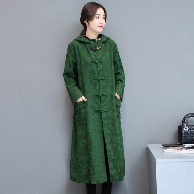2017 New Women Trench Print Keep Warm Stand Neck Button Front Jacquard Coat Coats Green Black 849