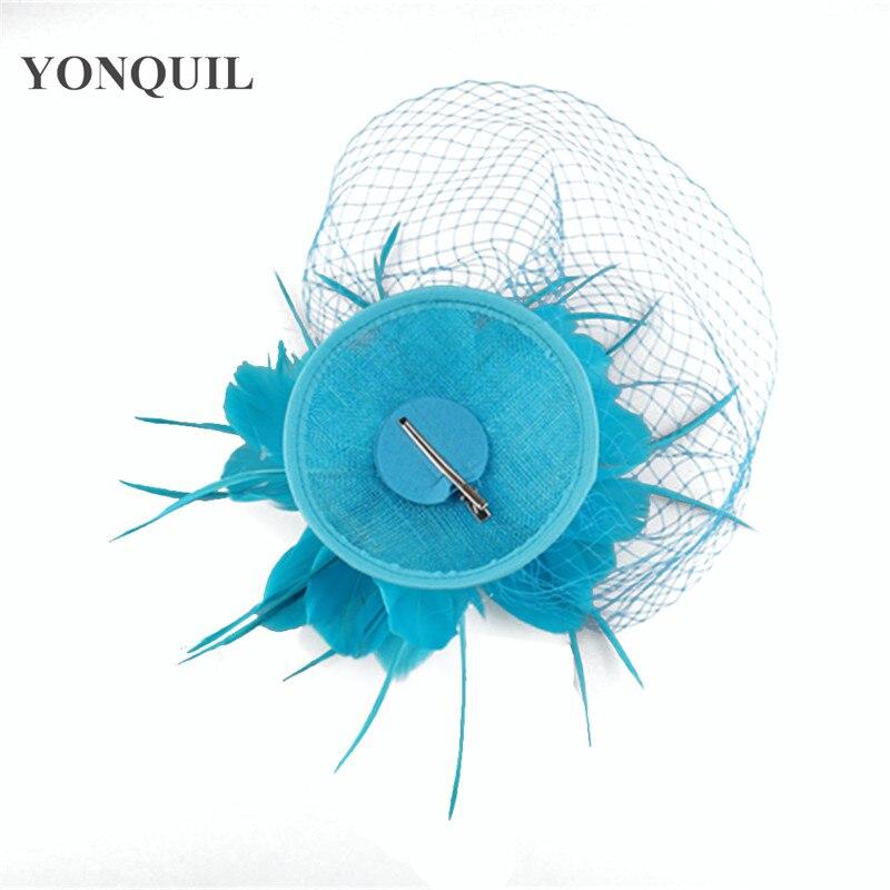 Fancy Feather flower bridal fascinators hats veils hair clips Elegant women wedding millinery hats fashion race headpiece SYF290