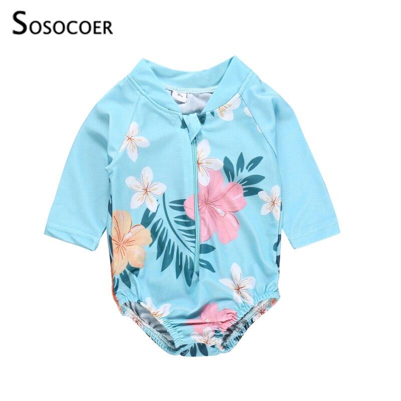 SOSOCOER Baby Girl Swimsuit Floral Print Girls One-piece Swimsuit Long Sleeve Zipper Children Beach Wear Kids Swimming Clothes
