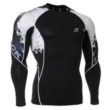 Men Clothes Tight Skin Compression Shirts Long Sleeves Double Sides 3D Prints Male Breathable Quick Dry