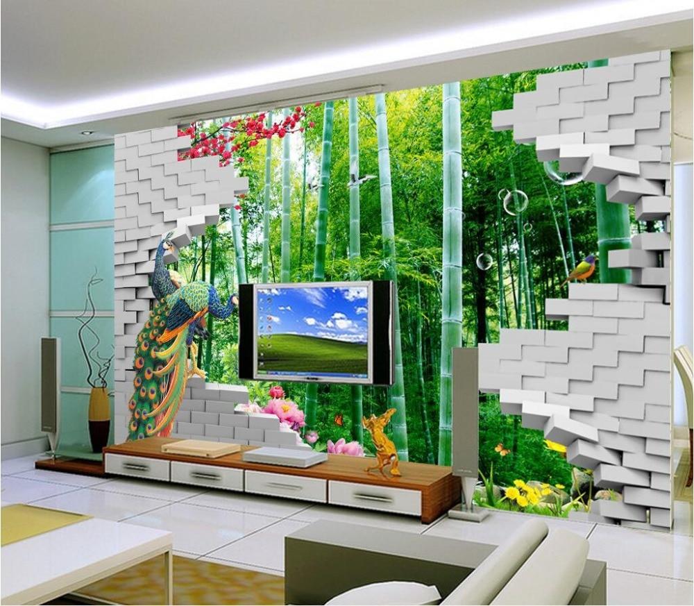 3d room wallpaper custom mural non woven photo Bamboo peacock wall
