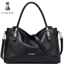 FOXER Famous Brand Women Leather Shoulder Bag Luxury Women's Cowhide Satchels Bags Female tote free shipping