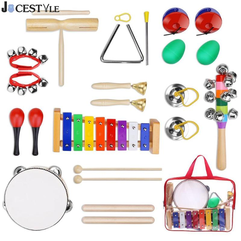 купить JOCESTYLE 12pcs Percussion Drum Instrument Set Kids Early Education Musical Toys Baby Boys Girls Christmas gift недорого