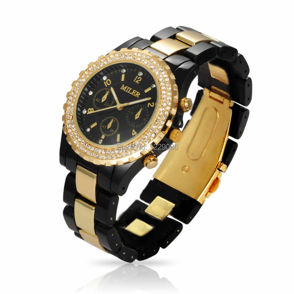 Women Quartz Watches Luxury Brand Rhinestone Wrist Watches Unisex Fashion Casual Clock Hours Relogio Feminino Reloj Black/White