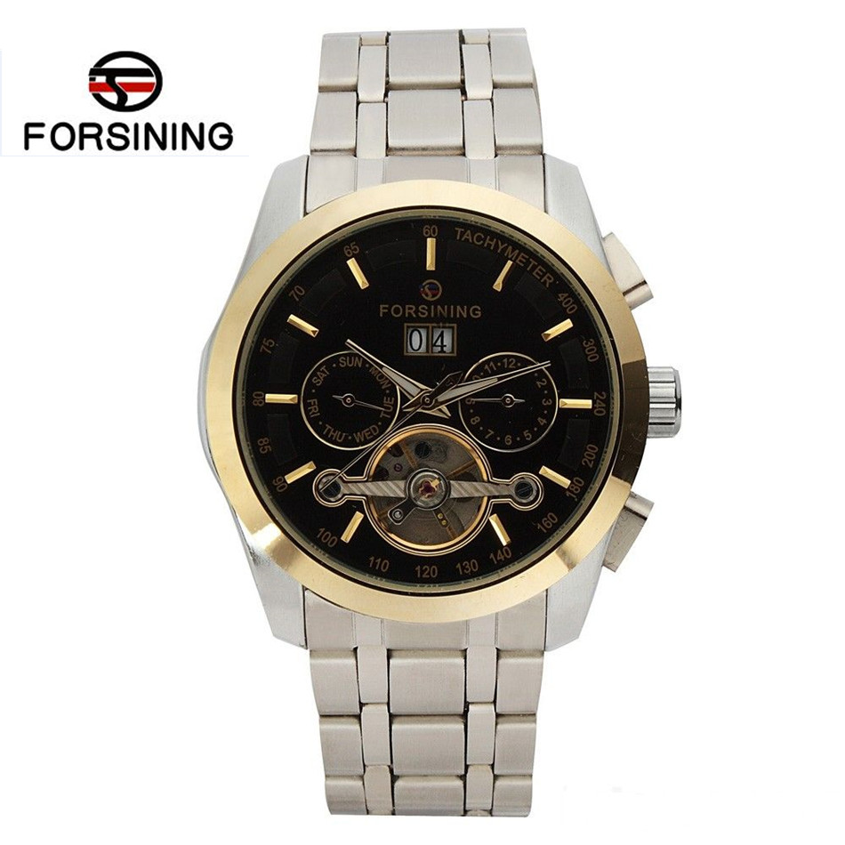2017 FORSINING New Watches Montre Homme Flywheel Automatic Mechanical Watch Wristwatch Gift Box Free Ship bostanten 2016 luxury men wallets leather male money purses famous brand new designer short purse with card holder dollar price