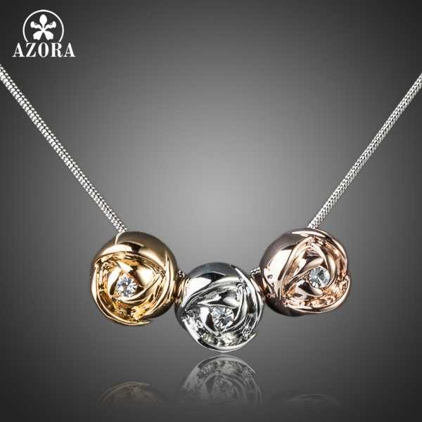 AZORA Brand Design White Gold Color Stellux Austrian Crystal 3pcs Roses Pendant Necklace TN0071
