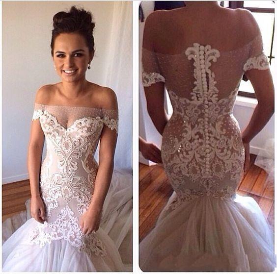 84851d3e9d7a 2017 Luxury Heavy Beads Pearls Mermaid Wedding Dresses Dubai Arabic  Sweetheart Low Back Court Train Bridal Gowns Custom Made